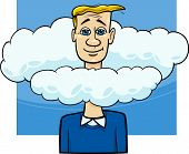 image of unawares  - Cartoon Humor Concept Illustration of Head in the Clouds Saying or Proverb - JPG