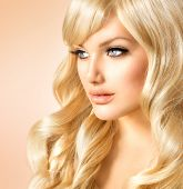 stock photo of doll  - Beauty Blonde Woman Portrait - JPG