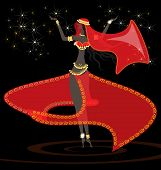 picture of seminude  - in a dark room dancing oriental girl in red dress - JPG