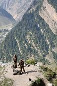 JAMMU AND KASHMIR, INDIA - JULY 21, 2006: Indian Army checkpoint in Kashmir Himalayas