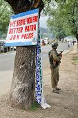 JAMMU AND KASHMIR, INDIA - JULY 15, 2006: Indian police force on the way to Holy Amarnath cave