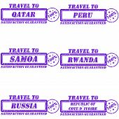 stock photo of samoa  - Set of stamps travel to quatar - JPG