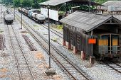 stock photo of railroad yard  - Railway yard of the station in the northern of Thailand - JPG