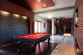 stock photo of snooker  - Billard table in the hall of private interior - JPG