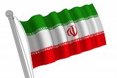 Iran Flag On Pole