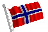Norway Flag On Pole