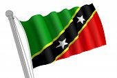 Saint Kitts And Nevis Flag On Pole