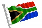 stock photo of south-pole  - South Africa flag on pole waving in the wind - JPG