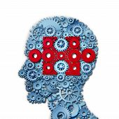foto of cognitive  - Psychology puzzle head concept with a human face in side view made of connected gears and cogs with a group of red cog wheels shaped as a jigsaw piece as a medical metaphor for cognitive intelligence function - JPG