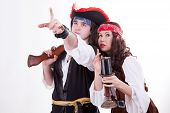 Two Pirates On White Background