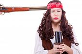 image of muskets  - Pirate with musket at head studio shooting - JPG