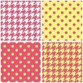 Houndstooth and polka dots seamless pastel yellow, pink and white vector pattern set.