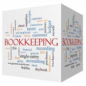 Bookkeeping 3D Cube Word Cloud Concept