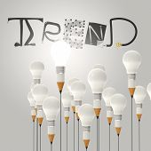 Pencil Lightbulb 3D And Design Word Trend As Concept