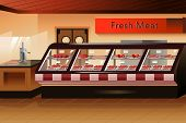 foto of grocery store  - A vector illustration of meat section in grocery store - JPG