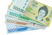 image of won  - South Korean Won currency on white background - JPG
