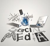 Hand Drawn Graphic Word Social Media And 3D All New Technology World  As Concept
