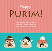 pic of purim  - Purim party invitation with hipster Haman Ears - JPG