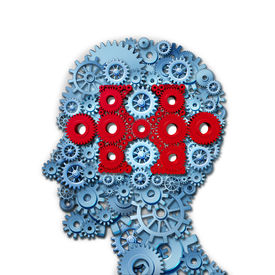 image of cognitive  - Psychology puzzle head concept with a human face in side view made of connected gears and cogs with a group of red cog wheels shaped as a jigsaw piece as a medical metaphor for cognitive intelligence function - JPG