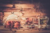 image of teapot  - Teapot and glass cups with  tea against wooden background  - JPG
