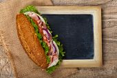 image of deli  - Deli sub Sandwich with chalkboard - JPG