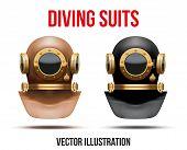 stock photo of undersea  - Set Front view of Underwater diving suit scuba helmet - JPG