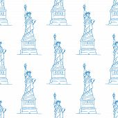 picture of statue liberty  - Statue of Liberty seamless pattern in outline style for travel - JPG