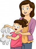 foto of puppies mother dog  - Illustration of a Mother and Daughter Petting a Cute Dog - JPG