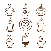 foto of steam  - Set of brown and white doodle sketch coffee cup vector symbols with steaming cups in different shapes  glasses  a mug   cappuccino  iced coffee or milkshake  and heart shaped steam and foam decoration - JPG