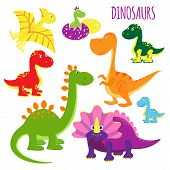 picture of dinosaur-eggs  - Cute set of vector icons of brightly colored vivid cartoon baby dinosaurs for kids showing a variety of species  clipart on white - JPG