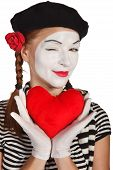 picture of clown rose  - Portrait of a mime valentine day concept - JPG