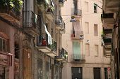 Street And Facades In Barrio Gotico Barcelona