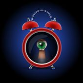 pic of voyeur  - red alarm clock with keyhole eye - JPG