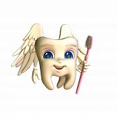 image of tooth-fairy  - A smiley tooth fairy with wings holding a pink toothbrush as a wand - JPG