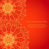 stock photo of macrame  - vector delicate red lace round mandala pattern - JPG