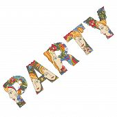 stock photo of initials  - word PARTY of decorative initial capital letters with faces of pretty women and flowers - JPG