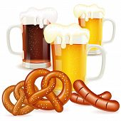 picture of pretzels  - Oktoberfest Concept with Glasses of Beer Pretzels and Sausages vector isolated on white background - JPG