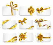 picture of bowing  - Set of beautiful cards with gold gift bows with ribbons - JPG