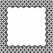 picture of fleur de lis  - Black and White Fleur De Lis Pattern Textured Fabric with Embroidery Background with center copy - JPG