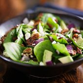 picture of leafy  - avocado spinach salad close up in bowl - JPG