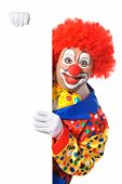 pic of clowns  - Clown with blank board isolated on white - JPG
