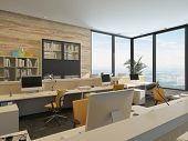 picture of high-rise  - 3D Rendering of Modern Minimalist Office with Work Stations and Large Windows in high rise Building - JPG