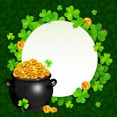 image of pot gold  - Vector black pot of magic gold on clovers circle background - JPG