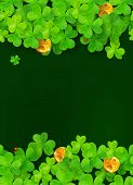foto of triskele  - Dark green vector background with clovers and golden coins - JPG