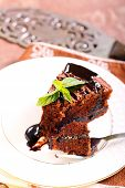 image of torte  - slice of Prune and chocolate torte - JPG