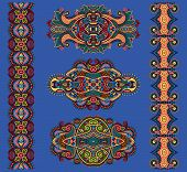 picture of adornment  - ornamental floral adornment in ultramarine color - JPG