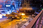 picture of blast-furnace  - Blast furnace in workshop of metallurgical plant - JPG