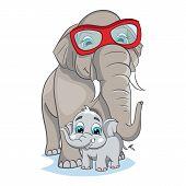 foto of elephant ear  - Image of mother elephant with baby elephant - JPG