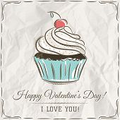 stock photo of cupcakes  - valentine card with cupcake and wishes text vector - JPG