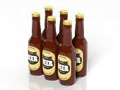 stock photo of six pack  - 3D six pack collection of beer glass bottles isolated on white  - JPG